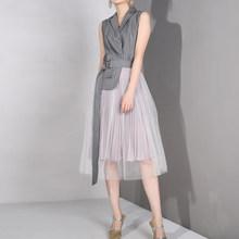 [EAM] 2019 nouveau printemps été revers sans manches gris Straped maille fendu Joint robe de tempérament lâche femmes mode marée LD6270(China)