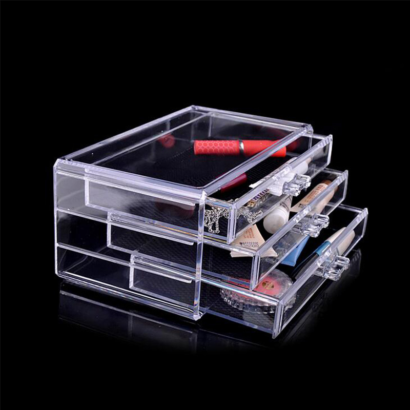 Three Layer Transparent Storage Boxes Drawer Storage Cabinets Cosmetics Box Makeup Tools Organization High Quality