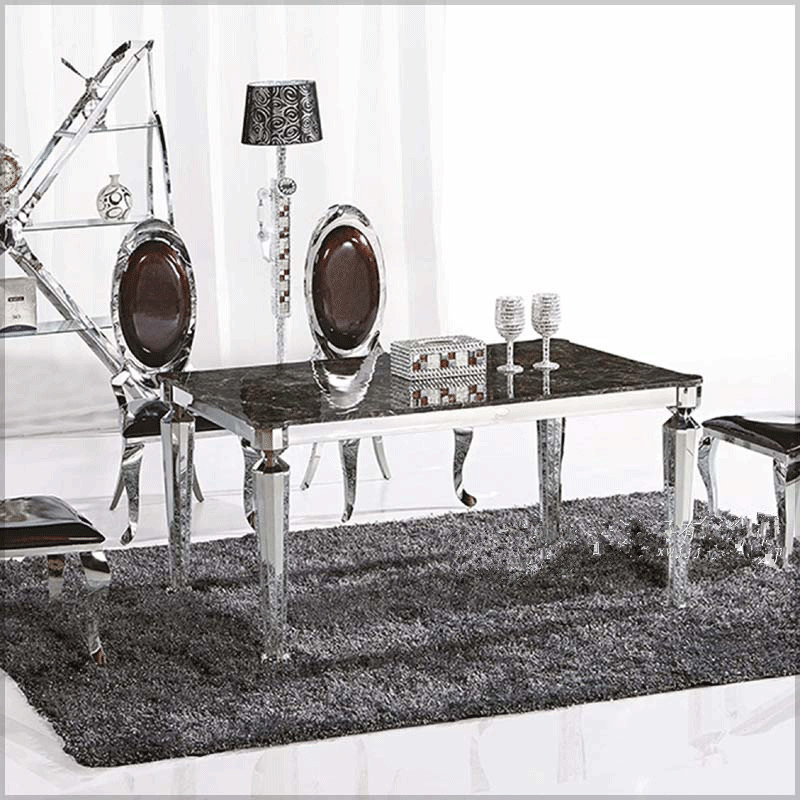 Stainless steel dining table coffee table hotel modern for Table 6 kemble inn