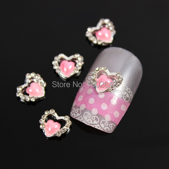 B472 10pcs/lot 3 Colors Charm Nail Art 3D Pink Pearl Double Heart DIY Alloy Glitter Nail Tips Rhinestone Accessories(China (Mainland))