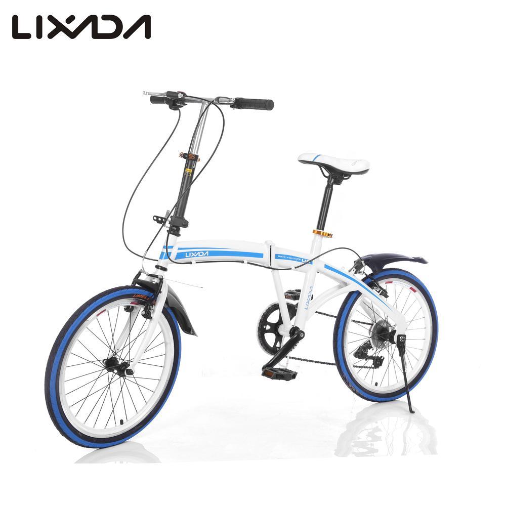 "Lixada 20"" Folding Carbon Steel U8 Bike 6-speed Portable Bicycle Fold Storage Folding Bike Front Rear V-brakes Bike Blue / Red(China (Mainland))"