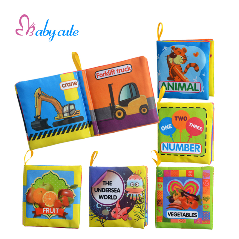 2016 New 6PCS Cloth Book For 0-3Y Development Infant Educationl Animal Car Number Soft Book Baby Learn Picture Cognize Book Toys(China (Mainland))