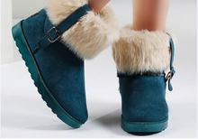 2015 mujeres del otoño tendencia nacional de invierno corto de nieve botas de punta redonda de color sólido dulce de la manera de algodón acolchado zapatos femeninos plataforma(China (Mainland))