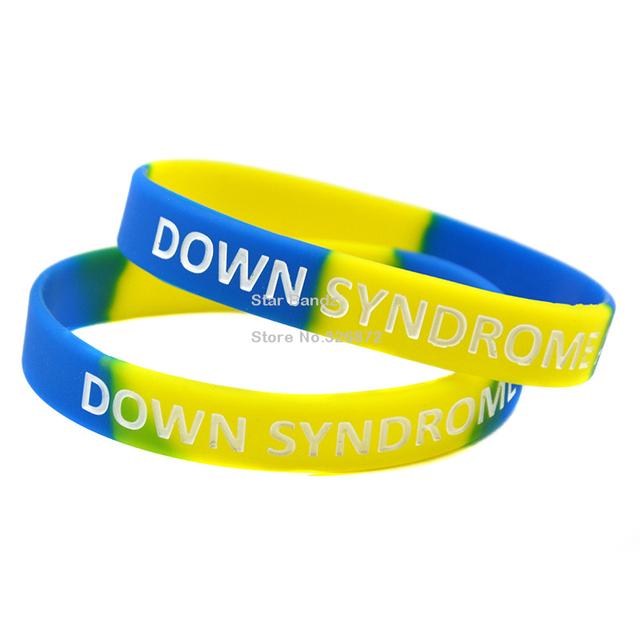 100 unids/lote conciencia de síndrome de Down pulsera de silicona, mostrar su apoyo y conciencia By vistiendo estos llamativos pulsera