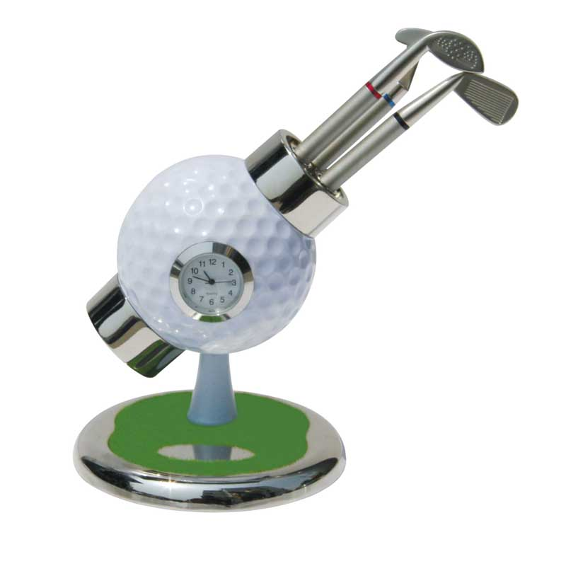 3pcs Golf Ballpoint Pen Original Design Golf Ball with Clock stand for Desk Ornaments Gifts 5 colors option Golf Hobbyist Gifts(China (Mainland))