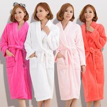 Bath Robe 13 colors Winter Women's Plus Size Flannel Robes Bathroom Robe Men Bathrobe Pajama Thick Long Spa Robe Shower Homewear(China (Mainland))