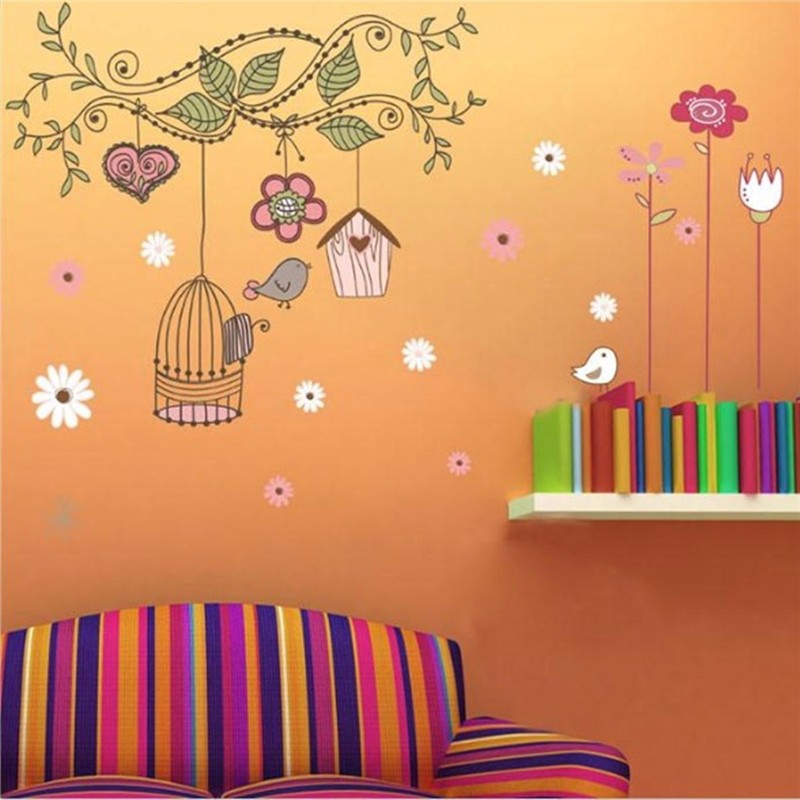 Wall Sticker Warm Birds Removable Vinyl Decal Waterproof Art Mural Livingroom Home Children Favor Bedroom Decoration