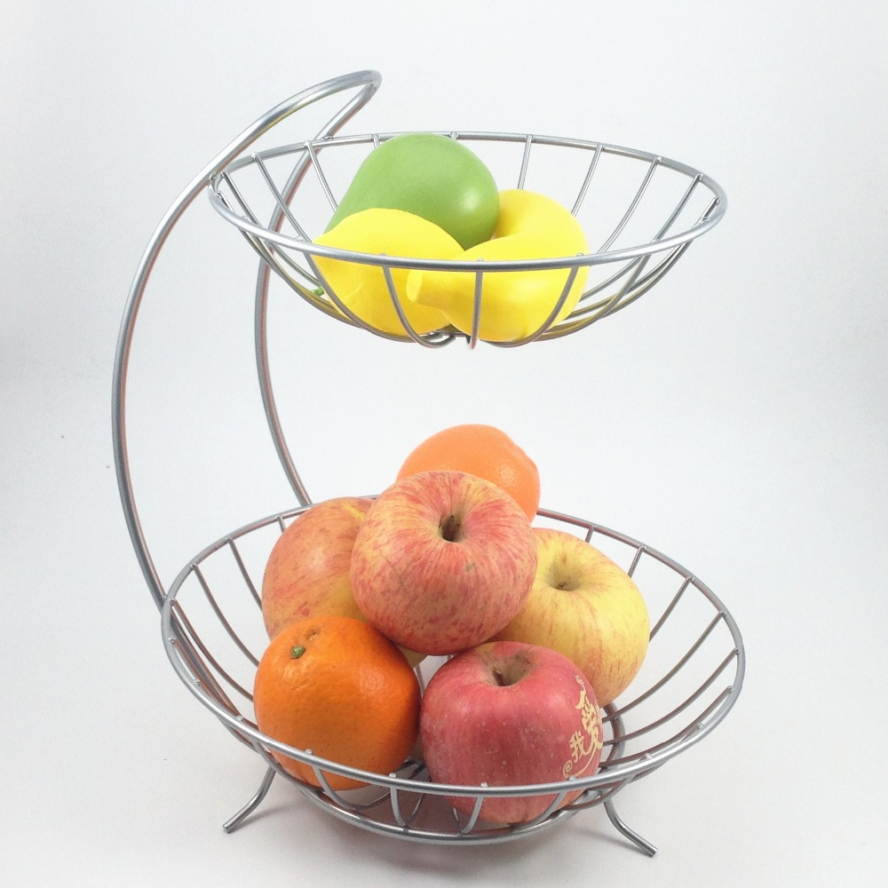 2016 new home decor 2 tiers stainless steel fruit basket rack tray fashion style kitchen - Tiered fruit bowl ...