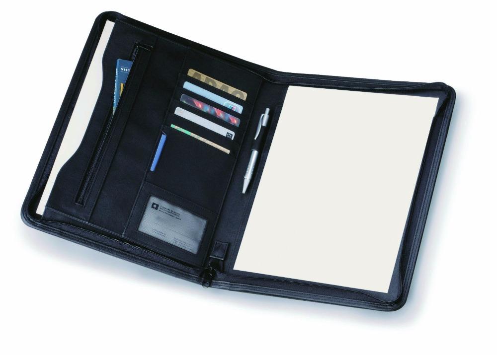 Black Leather Look A4 Zipped Conference Folder / Executive Portfolio(China (Mainland))