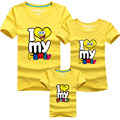 Family Look Cartoon I Love My Family Cotton T Shirts SpongeBob Summer Family Matching Clothes Mother