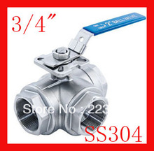 "New arrival 3/4"" CF8 SS304 stainless steel three way ball valve T port/L port  BSP thread(China (Mainland))"