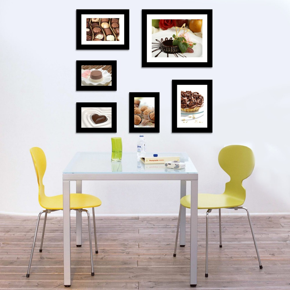 US-W Wood Photo Frames Set Family Wall Decal Set of 6 Family Words Room Art Decoration (The Picture. No photos included)(China (Mainland))