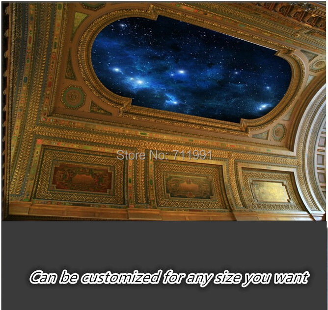 Free shipping custom- modern 3D mural suspended ceiling top bedroom wallpaper sky backdrop(China (Mainland))