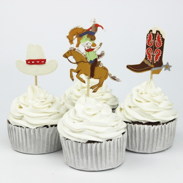 72pcs Cowboys Hat Boots Theme Party Supplies Cartoon Cupcake Toppers Pick Kid Boy Birthday Party Decorations(China (Mainland))