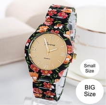 NEW Geneva Flowers Watch Platinum Geneva Watch Plastic Band Analog Printed Women wristwatch Vintage Fashion