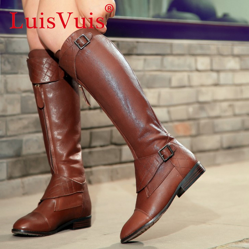 Фотография woman over knee natrual genuine leather flat boots women snow botas winter warm boot shoes  R1842 EUR size 34-40
