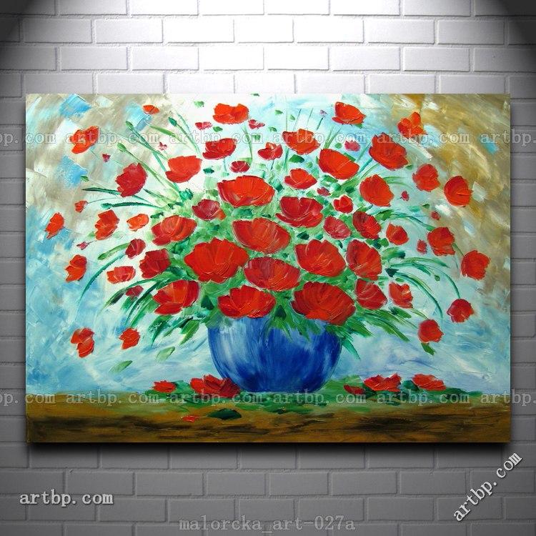 Klaprozen malorcka originele kunst olieverfschilderij zomer bloemen blauw rood art deco - Deco originele muur ...