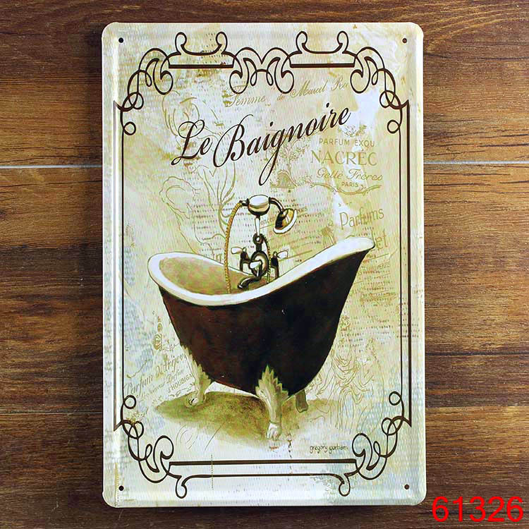 le baignoire bathtub plaque bathroom store shop home decoration iron tin sign wall art retro. Black Bedroom Furniture Sets. Home Design Ideas