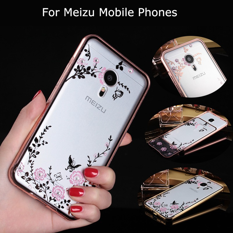 Secret Garden Flowers plating Diamond Acrylic Aluminum Metal Frame Back Case Cover For Meizu MX 4 5 Pro 5 6 M1 M2 M3 Note Metal(China (Mainland))