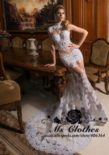 Por encargo De cuello alto Sexy opacidad del Applique del cordón De la sirena De largo De novia blanco Vestido 2015 Vestido De Noiva(China (Mainland))