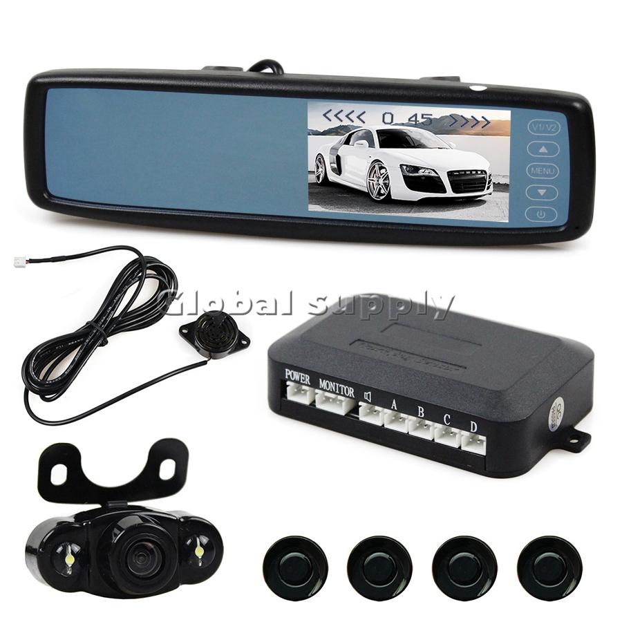 4.3 Inch Touch Button Car Mirror Monitor Kit + Video Parking Radar System + LED Night Viston Rear View Camera(China (Mainland))