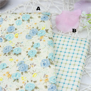 Twill Blue Rose cushion cloth Cotton Fabric for DIY Patchwork Sewing pillow Cloth home Textiles Fabric 40*50cm