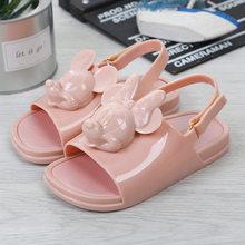 Mini Melissa Karikatür Sandalet 2019 Yeni 3D Mickey Kafa Ikizler Ayakkabı Jöle Ayakkabı Sandalet Kız kaymaz Çocuk Sandalet toddler(China)