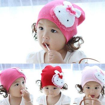 The Korean version of the rabbit children hat / baby lace / cotton caps headgear baby of cap EY044