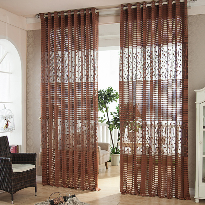 Hot grey modern shade net window sheer curtains for living for Modern curtains and blinds