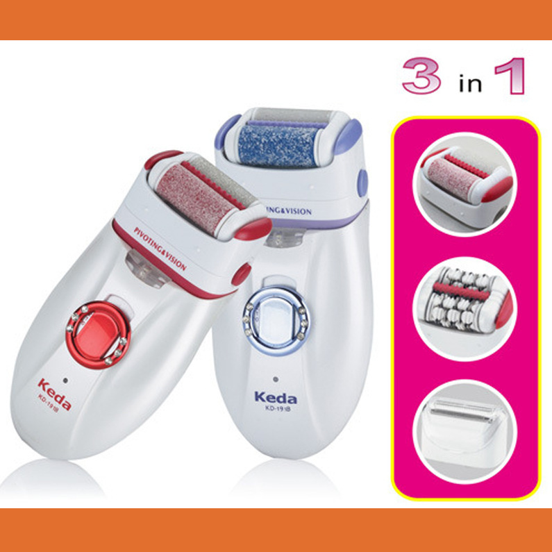 3 in 1 Lady Epilator with Extra Shaving head,Hair Removal,Rechargeable,AC220V-240V,for body,face,underarm,bikini,free shipping(China (Mainland))