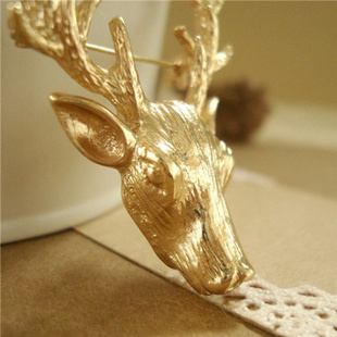 2014 fashion elizabethansbrooch gold staghorns onta brooch christmas gift corsage accessories - EVERBEAUTY---Fashion jewelry ---(min order 10$ store)