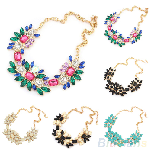 Women Flower Charm Crystal Gems Choker Hot Statement Bib Collar Necklace 1L3H(China (Mainland))