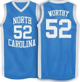 #52 James worthy North Carolina College Throwback Basketball Jersey Custom any Size Name and number Stitched #35 Bob McAdoo(China (Mainland))