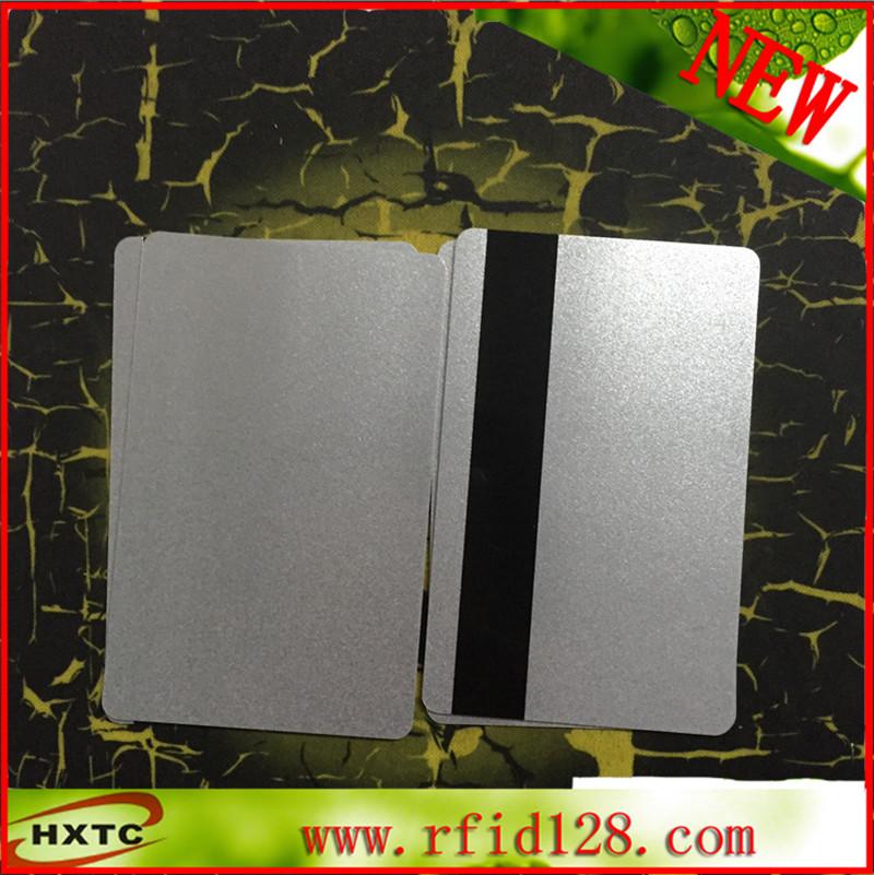 200PCS/Lot CR80 EMV Hi-CO MagStrip PVC Blank Cards Magnetic Card Silver smart Card for Fargo hiti datacard id card printer(China (Mainland))