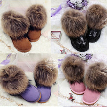 Women Snow Boots Brand LGF 100% Natural Big Fox Fur Laxury  Women's Shoes Low Waterproof  Sweet Genuine Leather Ankle Boots