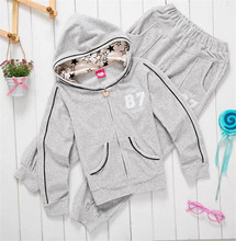 New Style Kids Leisure Clothing Sets for Girls Hooded Fashion Suits, Free Shipping A2912(China (Mainland))