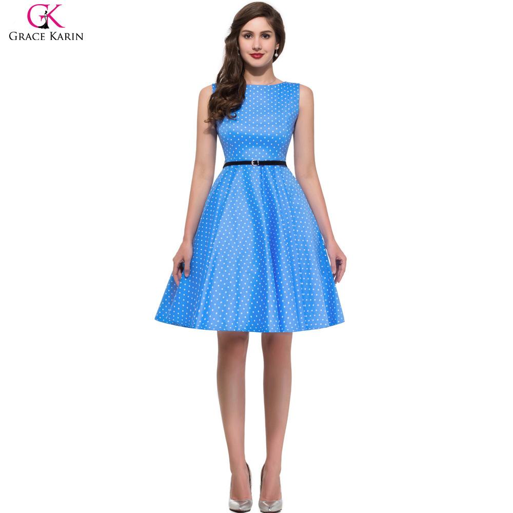 Summer Style Grace Karin Floral Print 50s Vintage Dresses Retro Swing Pinup Polka Dot Casual Cotton Short Rockabilly Dress 6086(China (Mainland))