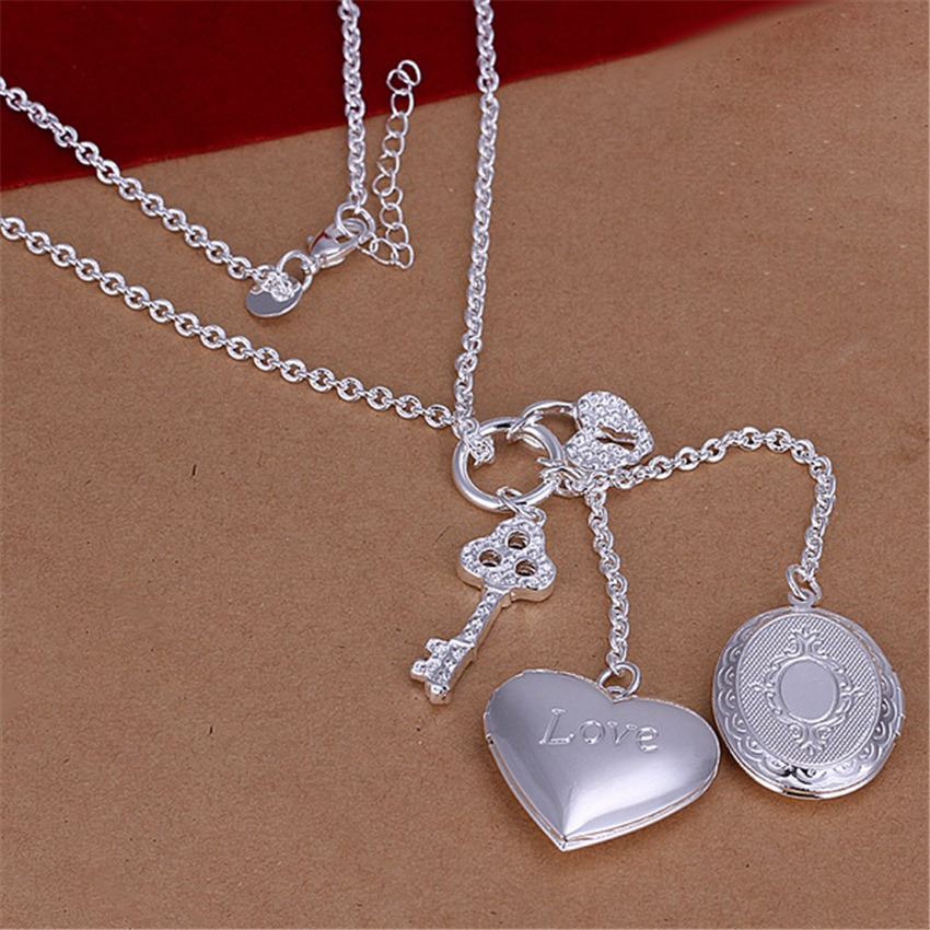Beautiful silver plated Necklace Fashion Jewelry heart-shaped photo frame key accessories for woman(China (Mainland))