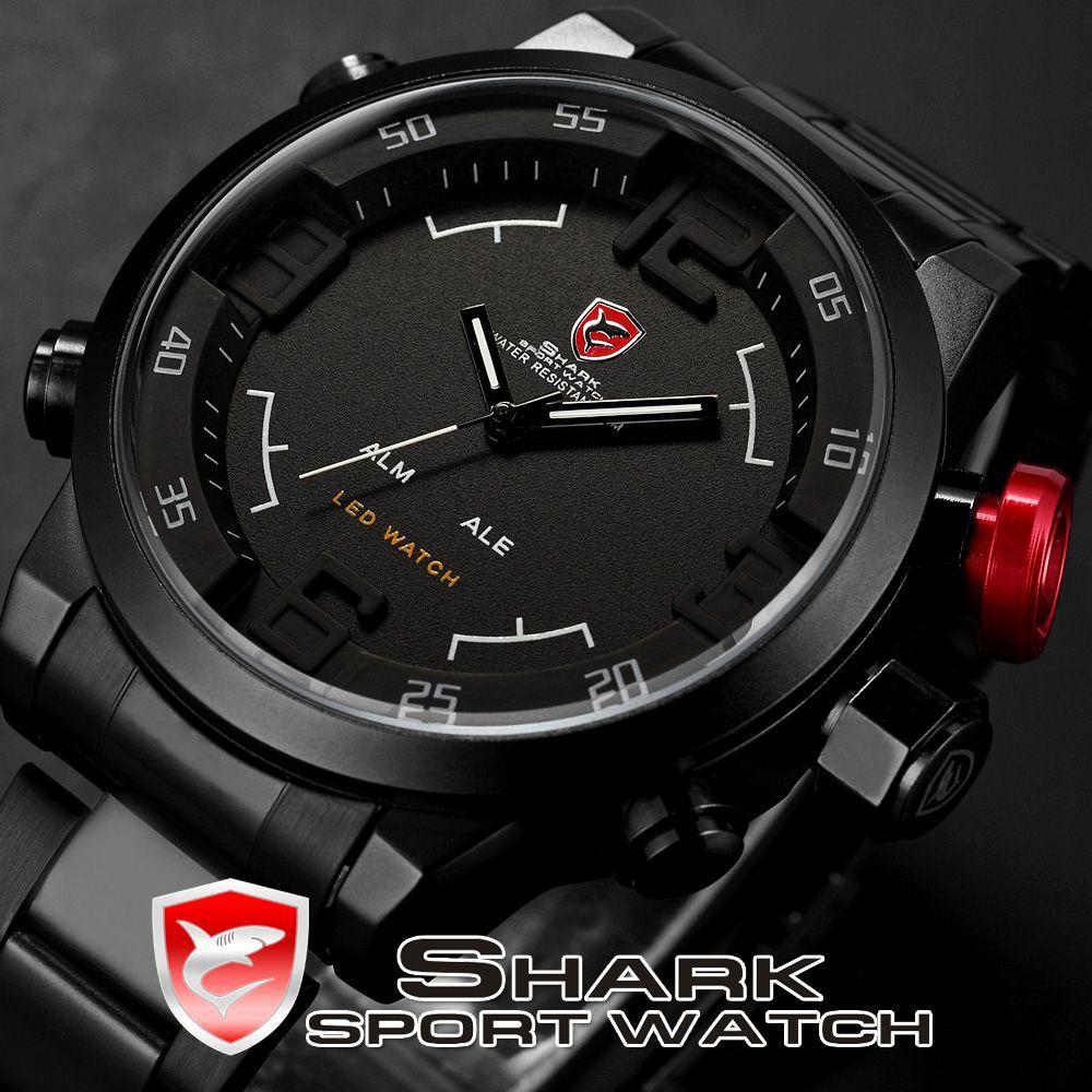 SHARK Analog Digital LED Stainless Full Steel Black White Alarm Outdoor Military Sport Casual Men Quartz Army Watch / SH108(China (Mainland))