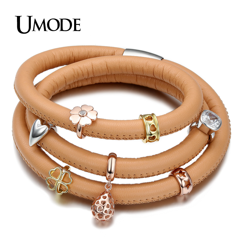 UMODE Unique 3 Layered Camel Genuine Leather and 3 Tone Gold Plated Cubic Zirconia Charms Set DIY Charm Bracelet UB2021(China (Mainland))