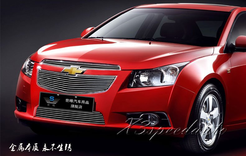 High Quality New Aluminum Alloy 3PCS Front Racing Grill Grille Cover Trim For Chevrolet Cruze 2009-2014<br><br>Aliexpress
