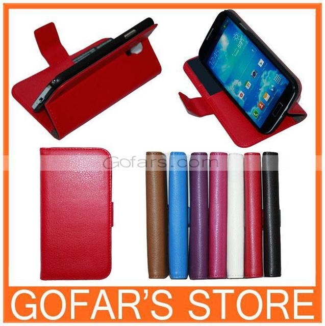 Luxury Book Wallet Credit Card Stand Leather Case for Samsung Galaxy S4 i9500 50pc/lot Great Quality