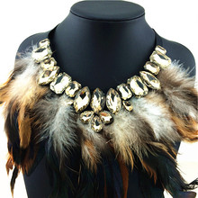 2015 New Brand Fashion Women Precious Crystal Feather Necklaces & Pendants Hot Sale Soft Glam Feather Chains Statement Necklaces(China (Mainland))