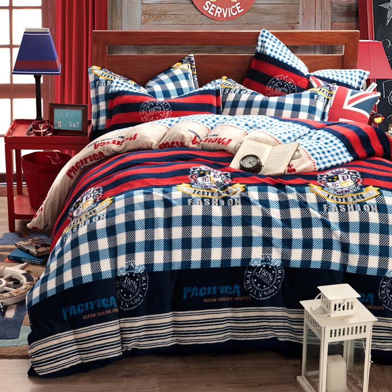 Duvet Cover Set Flannel 4pcs European Style Bedding Set