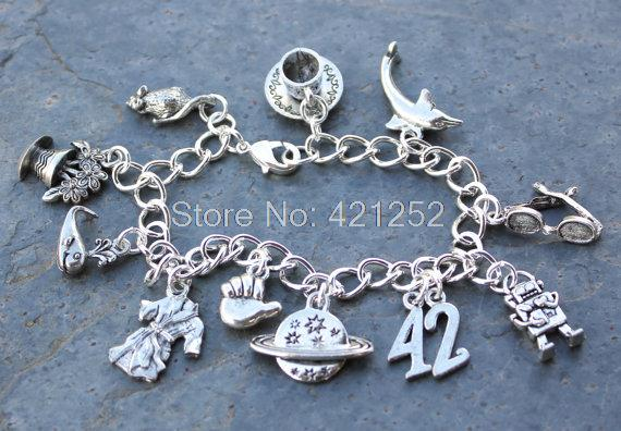 12pcs Hitchhikers Guide to the Galaxy inspired bracelet 42 robe Marvin whale petunias sunglasses charm bracelet<br><br>Aliexpress