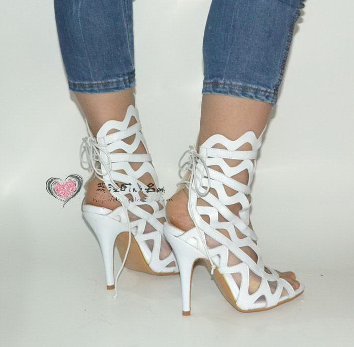 Summer Women Shoes Sandals White Gladiator Sandals Genuine Leather