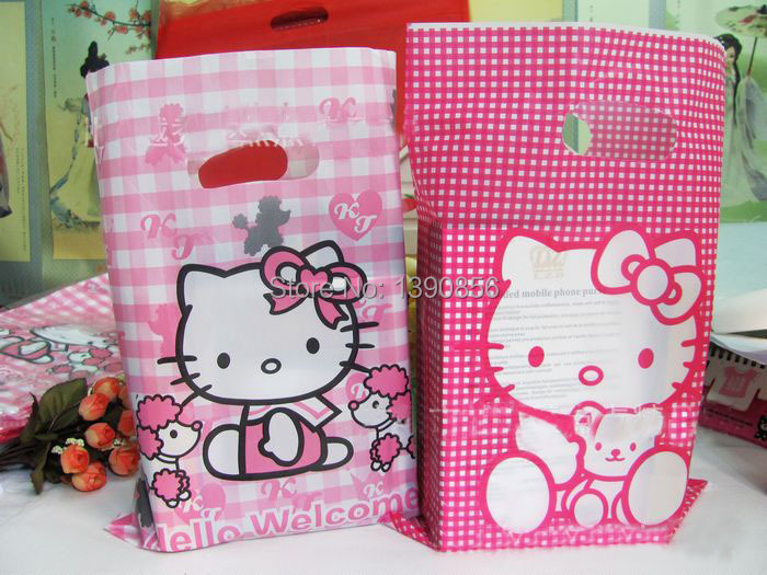 100pcs/lot Free shipping high Quality diy hello kitty bag 33*24cm Cheap Packaging Bags for shoes/clothes(China (Mainland))