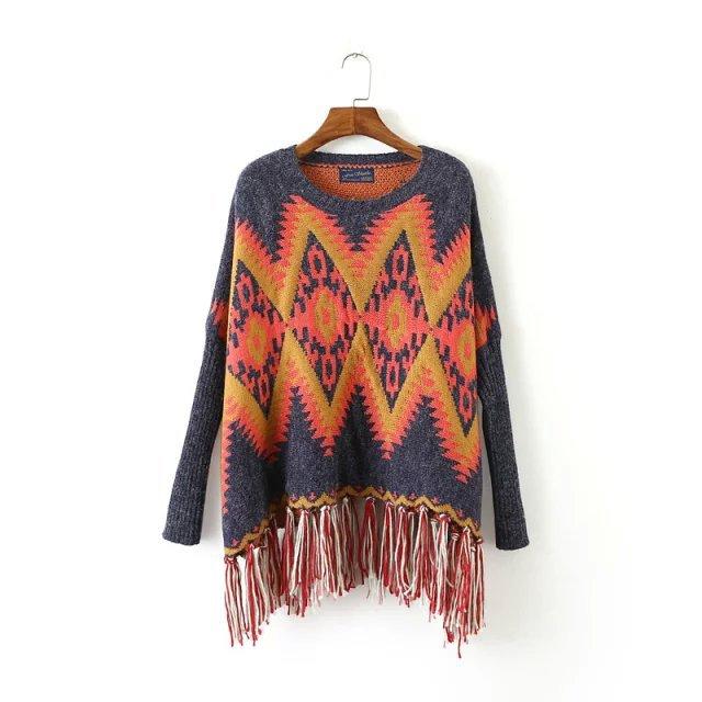 Geometric Ethnic Pattern Hem Fringed Cape Sweater Shawl Vintage Fringed Sweater Hedging Poncho Women Sweater Pullover Pull Femme(China (Mainland))