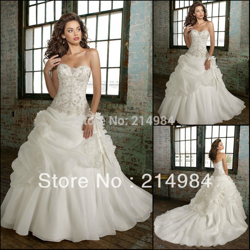 Real photo high quality custom organza puffy ball gown for Beautiful puffy wedding dresses