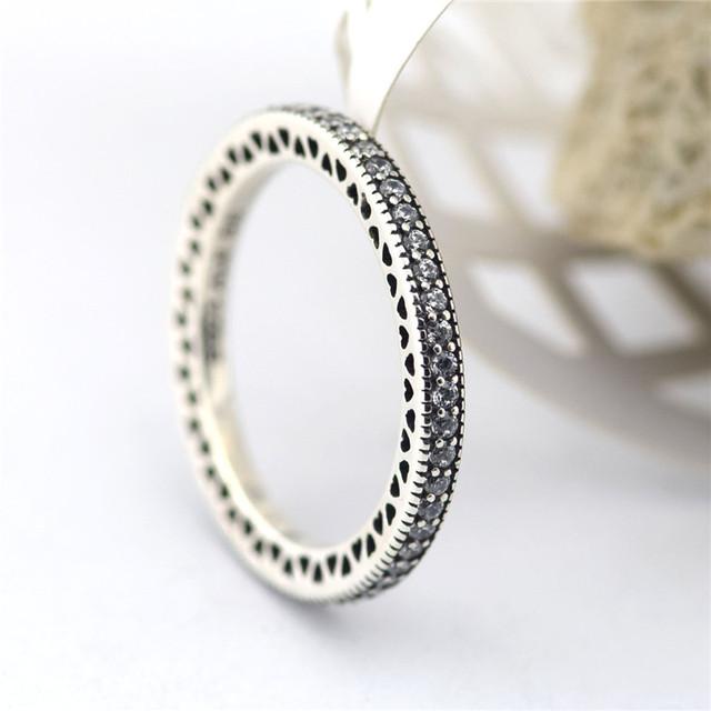 Кольца серебро 100% 925 ювелирные изделия любовь сердца CZ серебряный европейский свадьба для женщин DIY мода аксессуары и украшения оптовая продажа